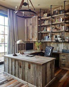 rustik home ofis fikirleri