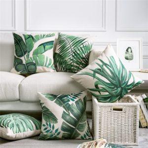 h&m palmiye desenli yastıklar