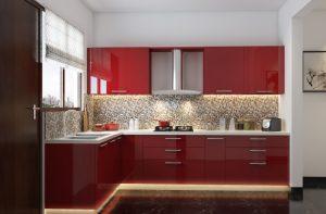 Kırmızı Akrilik Mutfak Modelleri