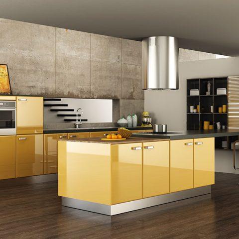 Sarı Akrilik Mutfak Modelleri