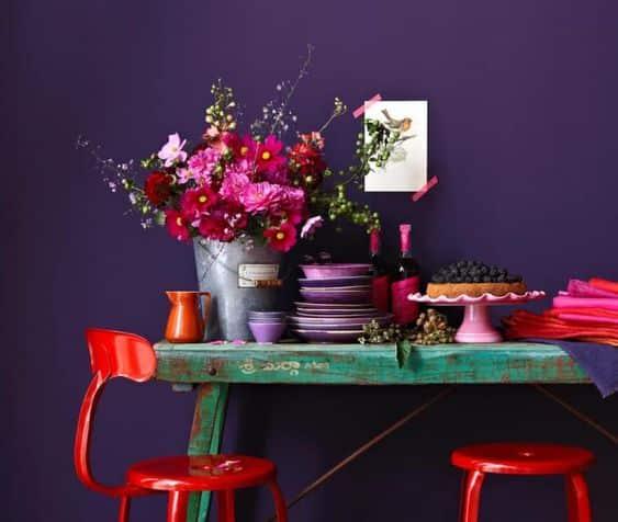 mor kırmızı mutfak dekorasyonu