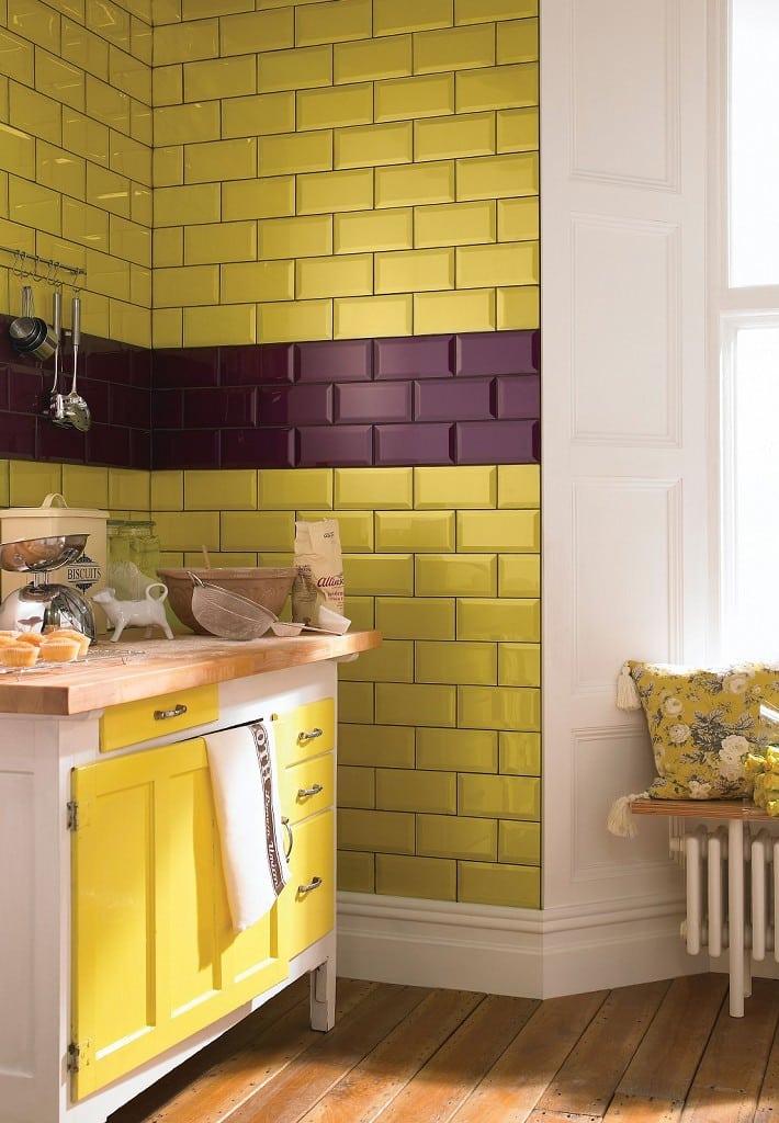 mor sarı mutfak dekorasyonu