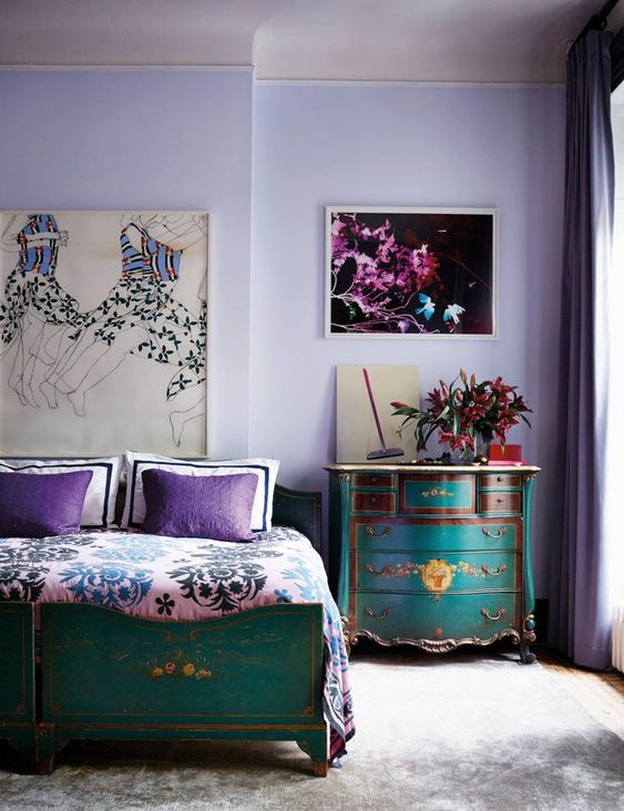 mor yeşil yatak odası dekorasyonu