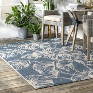 palmiye desenli mavi halı