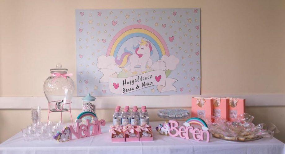 yeni doğan hastane odası süsleme unicorn