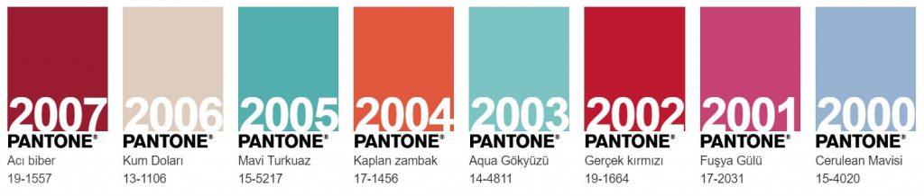 pantone geçmiş yılın renkleri