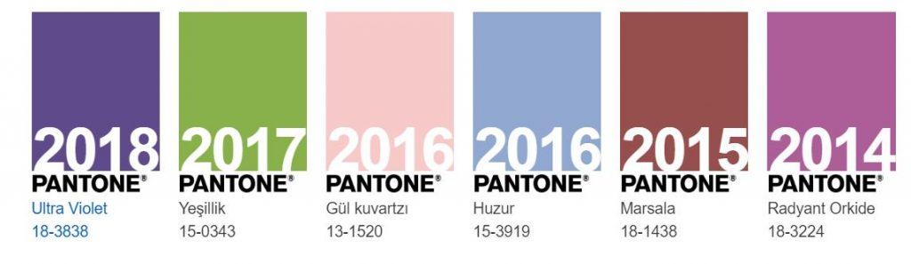 pantone geçmiş yılın renkleri nelerdir