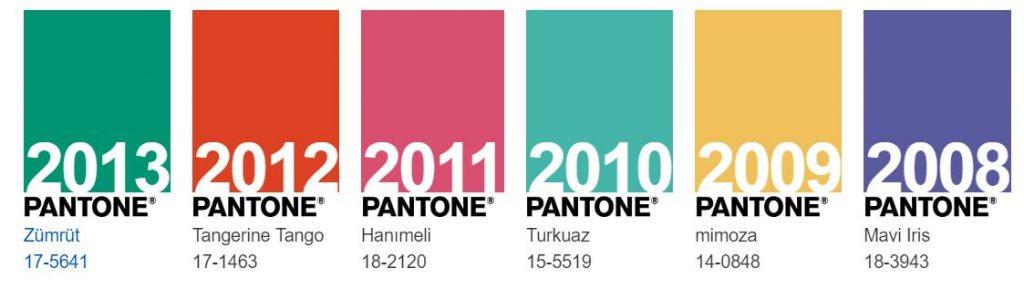 pantone geçmiş yılın renkleri hangileridir