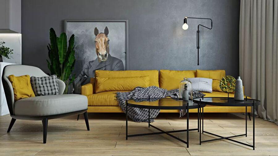 sarı gri koltuk kombini