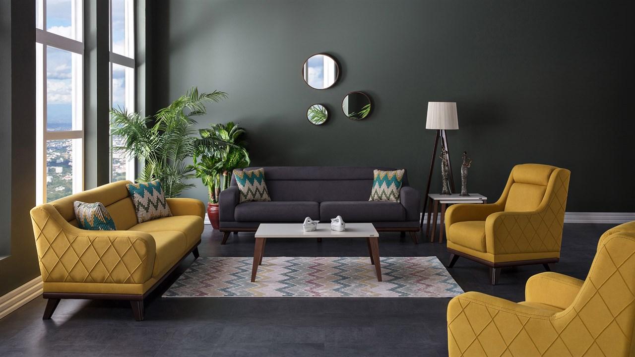 sarı koltuğa uygun duvar boyası