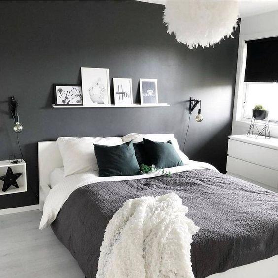 antrasit beyaz uyumu yatak odası