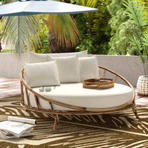 bambu yuvarlak bahçe koltuğu