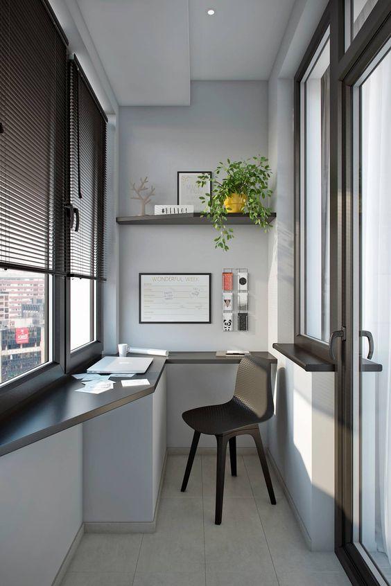 kapalı balkon home ofis fikirleri