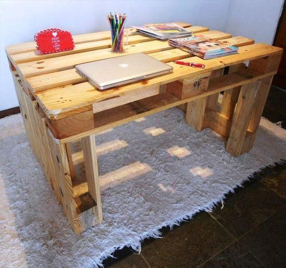 ahşap paletten çalışma masası