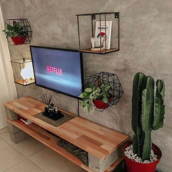 tuğla ve tahtadan tv ünitesi yapılışı