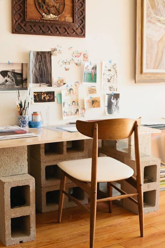 tuğla ve tahtadan çalışma masası nasıl yapılır