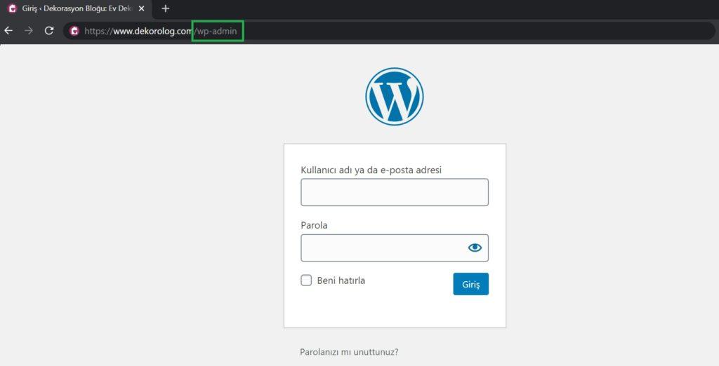 wordpress giriş ekranı