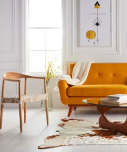 retro turuncu koltuk kombini