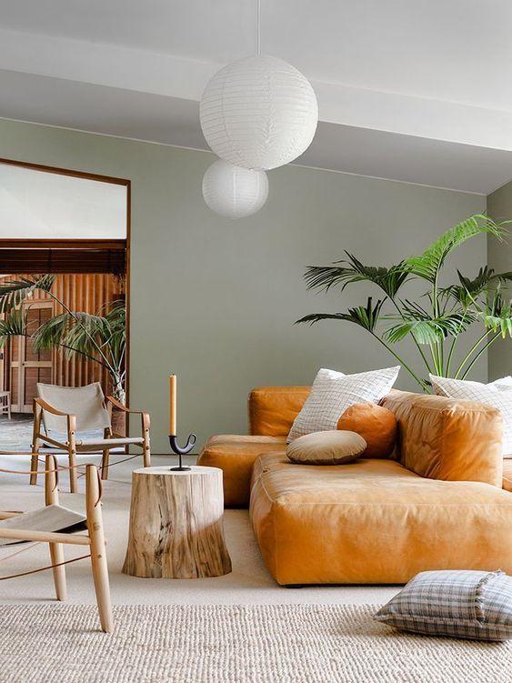 bobois turuncu koltuk dekorasyonu