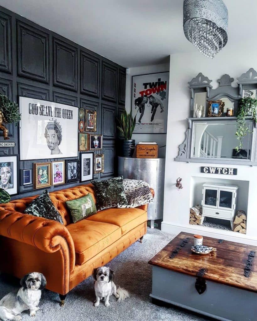 turuncu chesterfield koltuk dekorasyonu