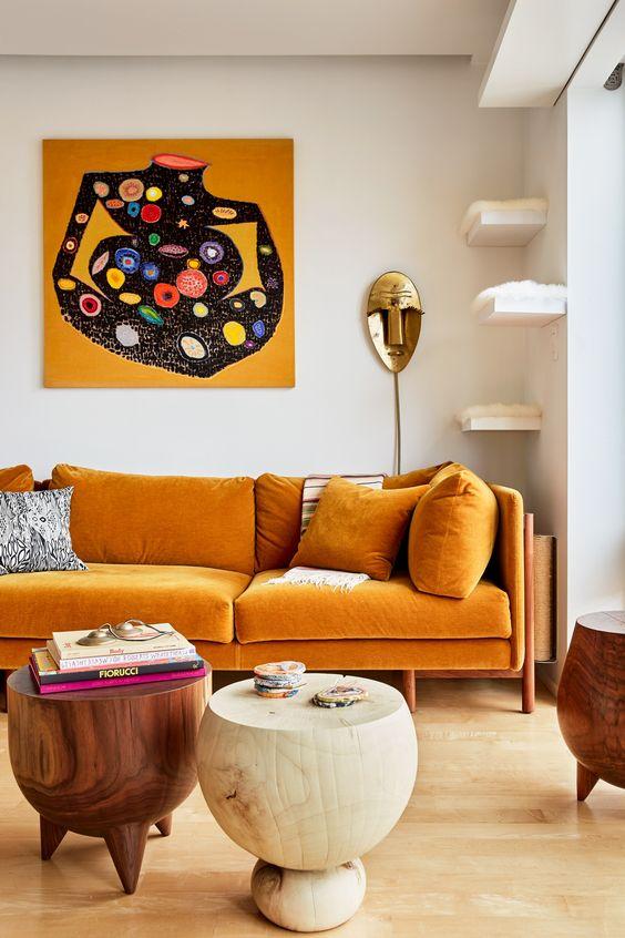 etnik turuncu kanepe fikirleri