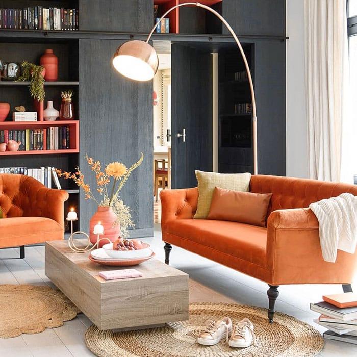 turuncu koltuk dekorasyon fikirleri