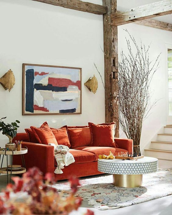 turuncu minderli koltuk kombinleri