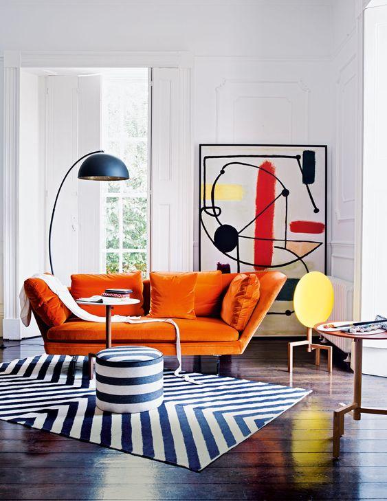 pop art turuncu koltuk dekorasyonu