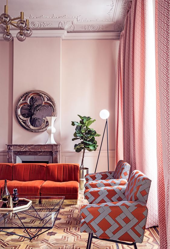 turuncu koltuk salon kombinleri