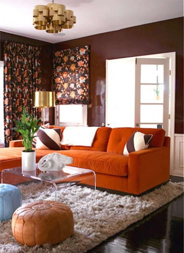turuncu salon dekorasyonu
