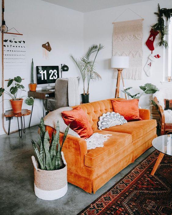 turuncu vintage koltuk