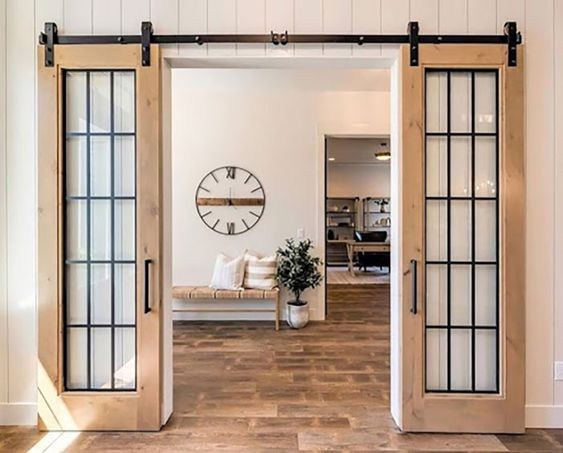 cam sürgülü kapı ahşap çerçeveli