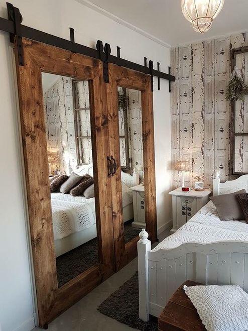 dekoratif ahşap aynalı kapı