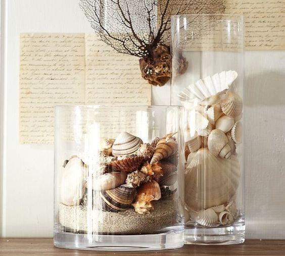 deniz kabuklarıyla vazo süsleme