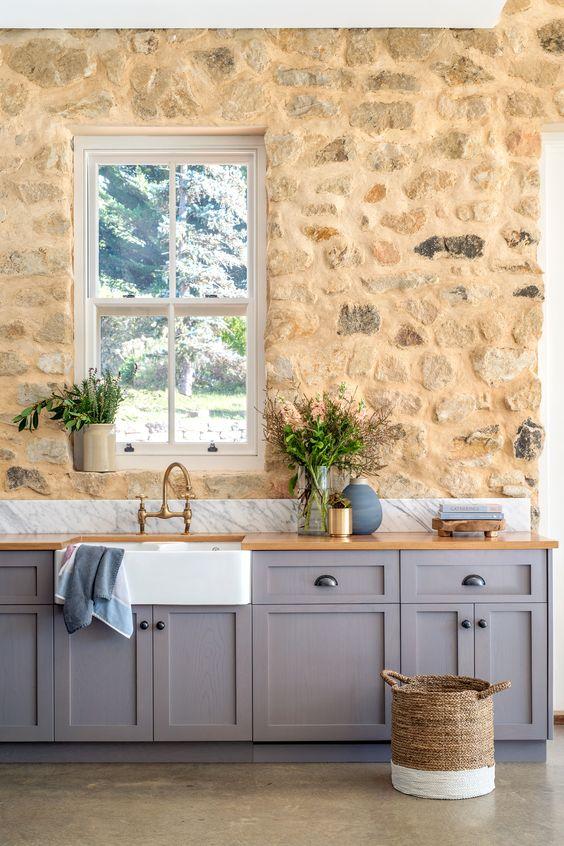 taş duvar kaplama örnekleri mutfak